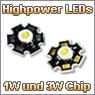 Highpower LEDs mit 1W und 3W Chip