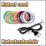 Kabel und Kabelzubehör in verschiedenen Durchmessern und Farben