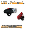 LED fahrradbeleuchtung, Fromntstrahler, Rckstrahler