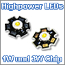 Highpower LEDs mit 1W und 3W Chip