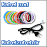 Kabel und Kabelzubeh&ouml;r in verschiedenen Durchmessern und Farben
