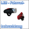 LED Fahrradbeleuchtung, Fromntstrahler, R&uuml;ckstrahler