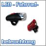 LED Fahrradbeleuchtung, Frontstrahler, Rückstrahler